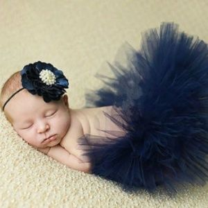 Navy Blue newborn tutu flower headband set photo
